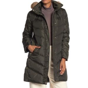 Michael Kors Chevron Faux Fur Hooded Down Coat